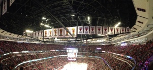 This panoramic view shows the Chicago Bulls banners hanging at the United Center.