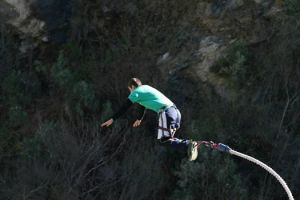 The author's nephew takes the leap, bungee-jumping in New Zealand.