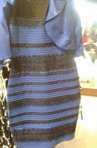 "This image clearly shows a dress with stripes. The wavelengths and lighting are unusual in that some perceive the  dress as gold and white (me!!) and others as blue and black. Unlike many ""optical illusions,"" this image is perceived as one color set or the other by most people. In other words, people are unable to switch between the two perceptions."