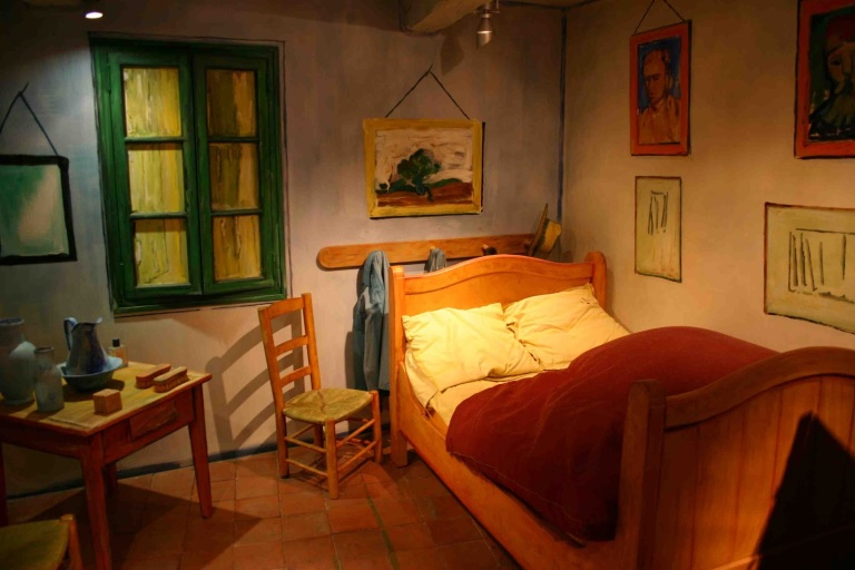 """van goghs painting bedroom at arles Van gogh painted his first bedroom just after moving into his beloved """"yellow house""""—the first place that truly felt like home—in arles, france, in 1888 he was very pleased with the painting and delighted that artist paul gauguin, who moved in a week later, admired it as well."""