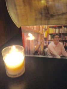 A yarzheit candle lit in mourning for Sabeen Mahmud.