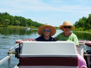 Caryl is a very serious pontoon captain.