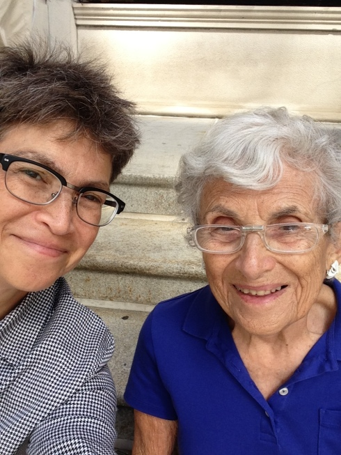 My mom and I sitting on the steps of the Art Institute this past summer.